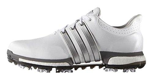 adidas adidas Herren Tour 360 Boost Golfschuhe, Weiß (White/Silver Metallic/Dark Silver Metallic), 47 1/3 EU