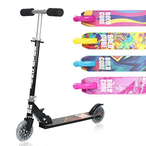 BOLDCUBE Faltbare Scooter Kinder mit PU Räder - für Kinder Jungen Mädchen ab 5-13 Jahre - bis 80KG Gewicht - mit 3 DREI Stufen Verstellbarer Lenkstange - der Sichere Premium Kinder Roller (Schwarz)