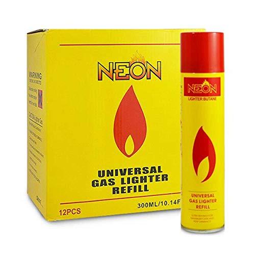 Butane Gas Refill Torch Lighter Fluid (12 Pack) (Neon (12 of Pack))