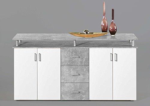 AVANTI TRENDSTORE - Lift - Comò spaziosa con 4 Ante a Battente e 3 cassetti, in Laminato Disponibile in 2 Diversi Colori, Dimensioni: Lap 180x90x40 cm (Grigio/Bianco)