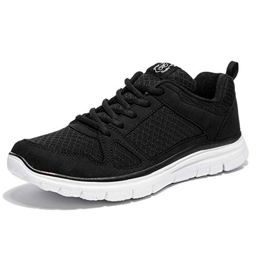 NewDenBer NDB Herren Leichtes Sneaker Sportschuhe Laufschuhe (48 EU, Schwarz/Black White)
