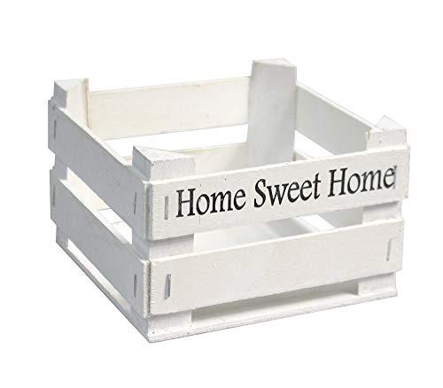 Vetrineinrete® Set 2 Cassette in Legno Decorazione casa Cucina servi Alimenti con Scritta Home Sweet Home Shabby Porta Asciugamani Accessori Bagno portapiantine 13x13x9cm 763786 E12 (Bianco)