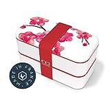 monbento - MB Original Graphic Blossom bento Box Rouge Made in France - Lunch Box hermétique 2 étages - Boîte Repas idéale pour Le Travail/école - sans BPA - Durable et sûre