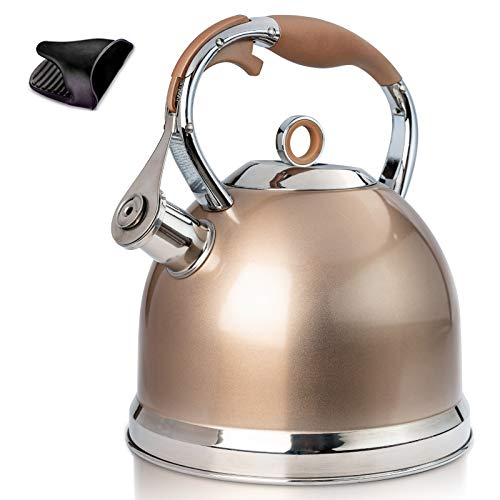 Tea Kettle 3 Quart induction Modern Stainless Steel Surgical Whistling Teapot - Pot For Stove Top (Champagne-gold)
