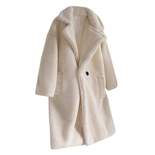 MINIKIMI Mantel Damen Winter Faux-Pelz Revers Jacke Parka Wollmantel Lang Teddy Cardigan Oversize PlüSchjacke Winter Outwear