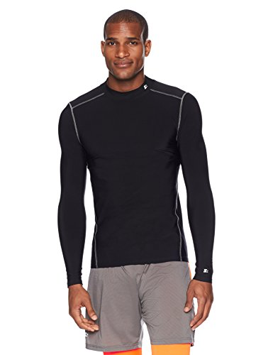 Starter Men's Long Sleeve Mock Neck Athletic Light-Compression T-Shirt, Amazon Exclusive, Black, Large