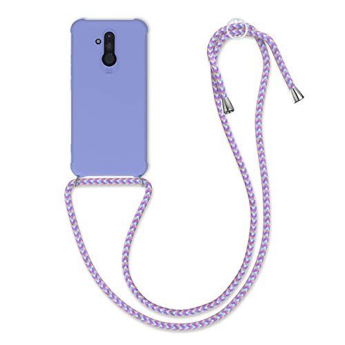 kwmobile Funda con Cuerda Compatible con Huawei Mate 20 Lite - Carcasa de TPU Mate con Colgante en Lila