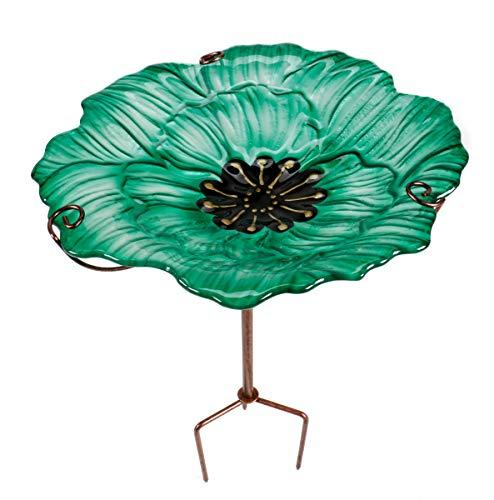 ArtiCasa Vogeltränke BZW. Vogelbad aus Glas und Eisen, freistehend und im Boden zu verankern, Höhenverstellbar, Größe (HxØ) ca. 64 x 31 cm, 3 Versionen (Grün)