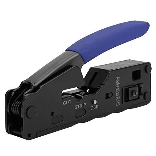 Herramienta de engarzado, práctico cortador de cables de 5.3 pulgadas, prensado de cables de acero antideslizante para cortar cables CAT-5 CAT-6 CAT-7(blue)