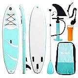 Triclicks Tabla Hinchable Paddle Surf/Sup Paddel Surf con Bomba, Mochila, Aleta Central Desprendible, Kit de Reparación, Remo Ajustable, La Cinta para Atar al Pie(300 * 75 * 15cm-Grosor) Verde/Blanco