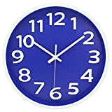 Modern Simple Wall Clock Non-Ticking Big Number Easy to Read Battery Operated Clocks Decorative Living Room/Bedroom/Office/Kitchen 12 Inch Navy