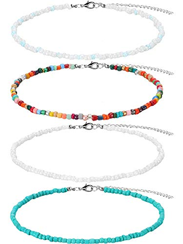 4 Stücke Perle Choker Halskette Einstellbare Reis Perlen Halskette Türkis Perlen Ketten für Frauen und Mädchen, 4 Farben