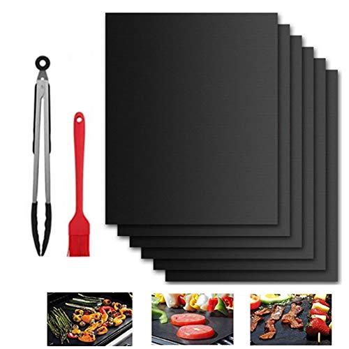 Nifogo BBQ Grillmatte, Grillmatten Set, Antihaft Grillmatte Backmatte, Wiederverwendbar, Leicht zu Reinigen & Langlebig, mit 1 Grillbürste und 12