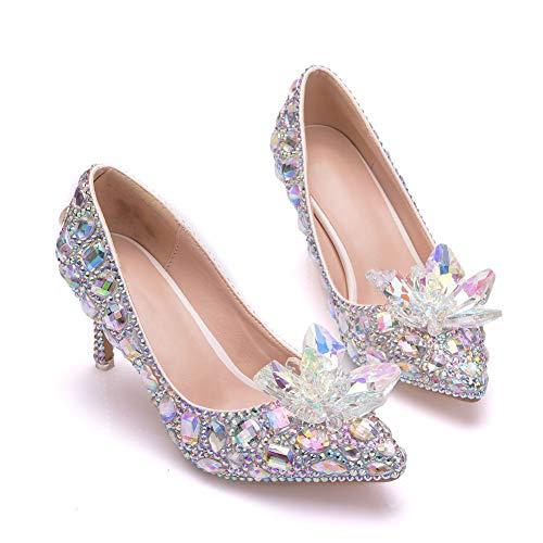 DEAR-JY Damen Brautschuhe,7 cm spitze Schuhe Bunter Diamant Strass,Cinderella Crystal Brautjungfer Tanz Auto Show Schuhe,Coloreddiamond,39