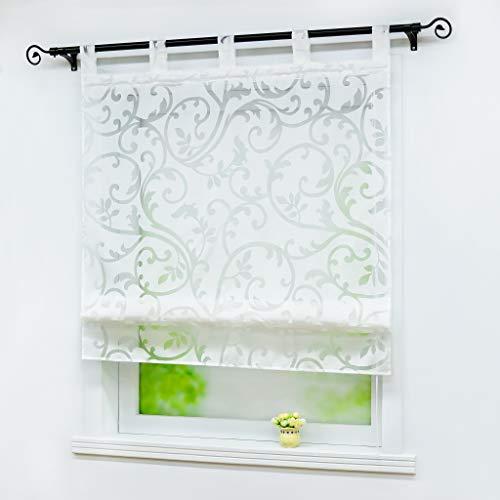 Joyswahl Roman Shades for Windows Sheer Voile Window Balloon Curtain Adjustable Tab Top Window Curtain Panels, 1pc (White,W39 x H55inch)