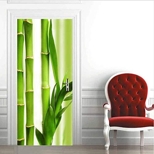3D deurstickers, wandafbeelding, deurposter, zelfklevend, bamboe, sticker, muurfoto, kunst, behang, posterdeur, plakfolie, PVC, zelfklevend, verwijderbaar, woondeur, sticker, modern kunstbehang, 77 x 200 cm 77x200cm