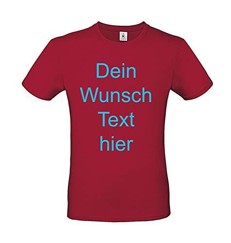 T-Shirt Bedrucken Lassen vorne oder hinten für Damen und Herren zu jedem Anlass Wunsch Text Farbe Rot, Größe M