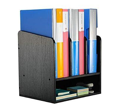 EasyPAG Desktop Wood A4 File Sorter Document Holder Multifunctional Magazine Folder Filing Tray Office Supplies Accessories Storage
