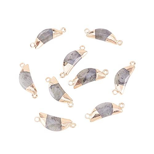 Airssory 10 piezas de piedra natural de labradorita con forma de luna, con 2 agujeros, conectores de gemas, abalorios facetados para hacer joyas, 27 ~ 31 mm