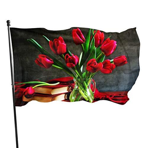N/A Vlag 3x5 FtRed Tulpen In Een Vaas Op De Tafel, Enkelzijdige Tuinvlaggen voor Binnen Buiten Gebruik UV Beschermd