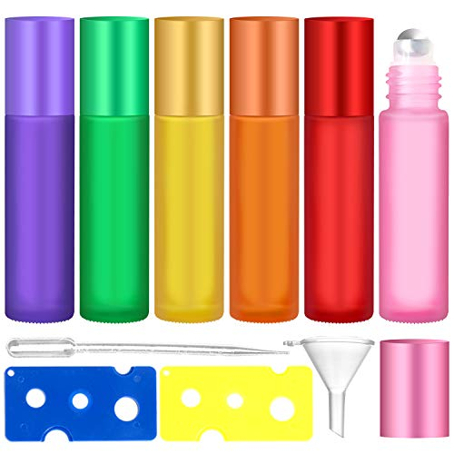 JJQHYC 6 Piezas Botella de Aceite Esencial Botellas Roll On de Vidrio con abridor y cuentagotas para Aceites Esenciales Perfumes (10ml)