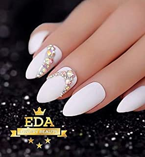 EDA Luxury Beauty WHITE Matte 3D Ultimate Glamorous JEWEL Design Gel Glitter Full Cover Press On Artificial Tips Perfect False Nails GLAM Extra Long Round Oval Almond Stiletto Super Fashion Fake Nails