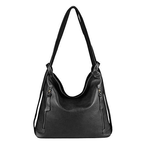 OBC Damen Tasche Rucksack 2 in 1 Umhängetasche Schultertasche Daypack Leder Optik Rucksacktasche Shopper Backpack Freizeitrucksack Schwarz