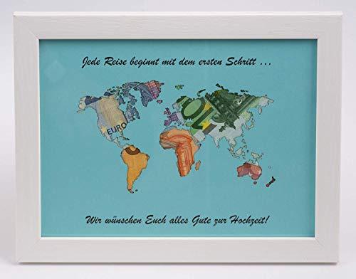 Geldgeschenk Weltkarte MIT Bilderrahmen für Hochzeit (beschriftet)
