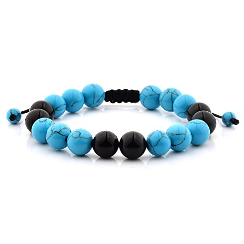 West Coast Jewelry Men's Turquoise and Black Onyx Polished Stone Bead Adjustable Bracelet (10mm) - 8 INCHES
