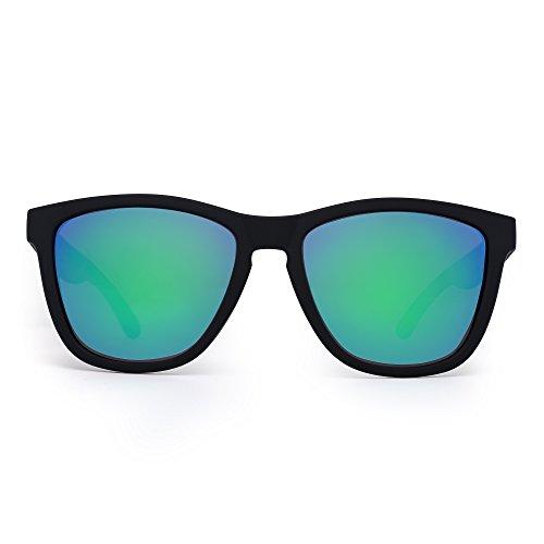 JIM HALO Gafas de Sol Retro Polarizadas Lente Reflexivo Espejo Anteojos Hombre Mujer