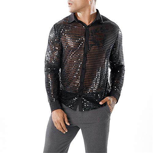 Men's Shirts Shiny Sequins Mens Casual Plain Transparent Button Lapel Shirt Long Sleeve Fashion Autumn Winter Party Prom Shirt Fashion Sequins Bling Shirts Tops Night Club Styles XL