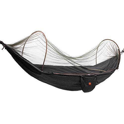 XuZeLii Hamaca De Camping Camping al Aire Libre paracaídas Hamaca con Mosquitera oscilación Colgante Cama Adecuado para Mochileros (Color : Black, Size : 250x120cm)