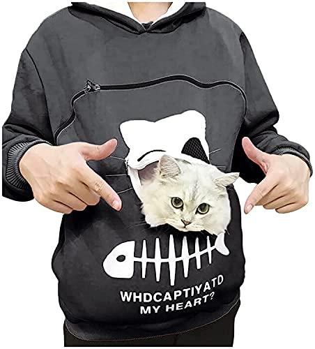 Baonmy Mujer Animal Pouch Sudadera con capucha Tops Llevar Gato Transpirable Pullover Blusa Mujer Moda Casual con Capucha Fuerte Practicidad (gris, pequeño)