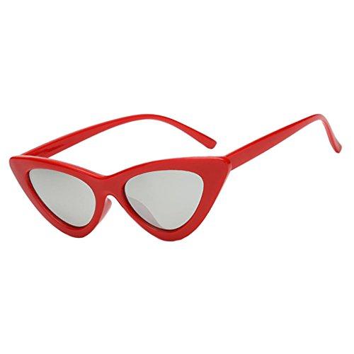 dailymall Diseñador de Anteojos de Gafas de Sol Reflejado Triángulo Vintage Mujeres - Plata roja