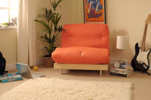 Comfy Living 2ft6 Small Single Wooden Futon Set with ORANGE Mattress