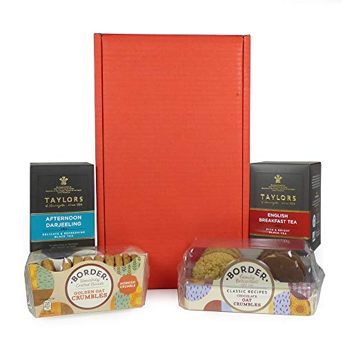 Classic Tea & Biscuits Hamper Presented in a Red Gift Box - Gift Ideas for Mum, Birthday, Valentines, Mothers Day, Wedding, Anniversary, Business and Corporate