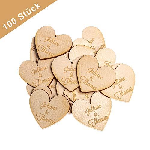 100 Stück 50mm Streudeko Herzen - Gravur mit Namen - Personalisiertes Hochzeitsgeschenk & Hochzeitsdeko - Deko Holzherzen für Tischdeko & Tischschmuck DIY Vintage