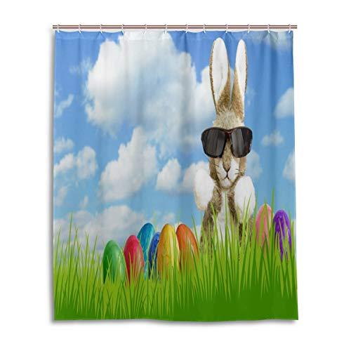 CLSNMSNHEBG Cortina de ducha con ganchos, 152 x 182 cm, diseño de conejo de Pascua, gafas de sol y huevos florales, decoración del hogar, poliéster impermeable para baño