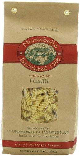 Montebello Organic Fusili, Italian Macaroni, 16-Ounce Bag (Pack of 5)