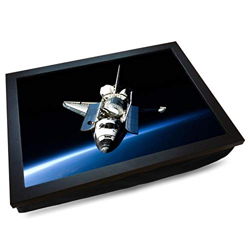 Deluxe Cushioned Lap Tray | Space Shuttle in Orbit | Wooden Frame | Bean Bag Cushion Base | #DK