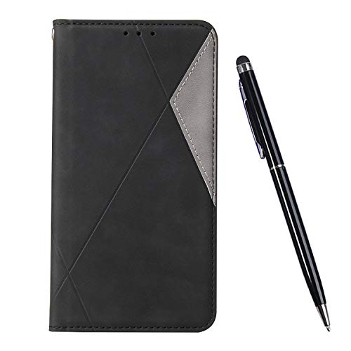 TOUCASA Kompatibel mit Huawei P Smart Plus 2019 Hülle, Handyhülle Brieftasche PU Leder Flip Case [Ständer Kartenfach] [Taktile Stitching] Handytasche Klapphülle Kratzfestes Schutz Lederhülle (Schwarz)