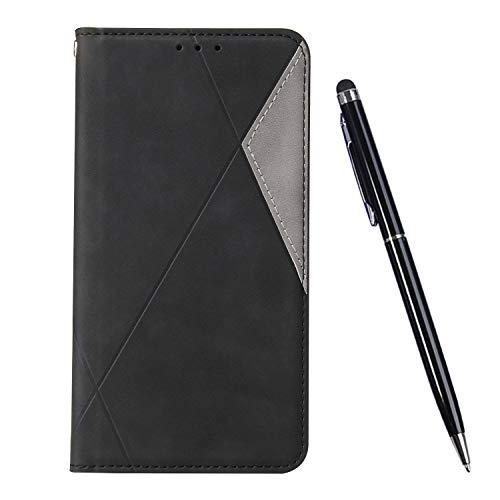 TOUCASA Kompatibel mit Huawei P30 Lite Hülle, Handyhülle Brieftasche PU Leder Flip Case [Ständer Kartenfach] [Taktile Stitching] Handytasche Klapphülle Kratzfestes Schutz Lederhülle (Schwarz)