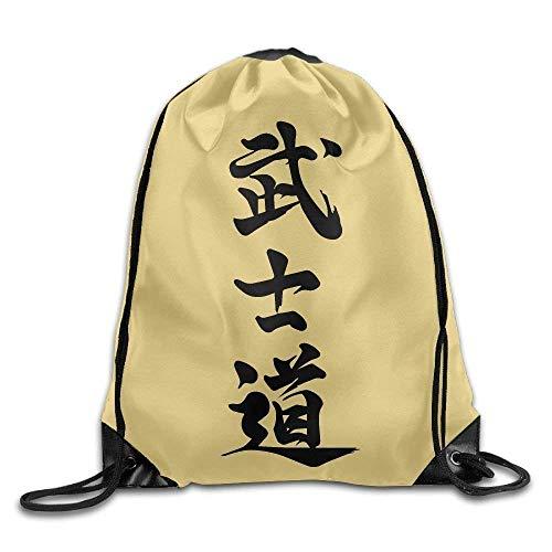 CHSUNHEY Turnbeutel,Sporttaschen,Japanese Kanji Bushido Print Eco-Friendly Luggage Drawstring Backpack Rucksack Shoulder Bags Gym Bag Sport Bag