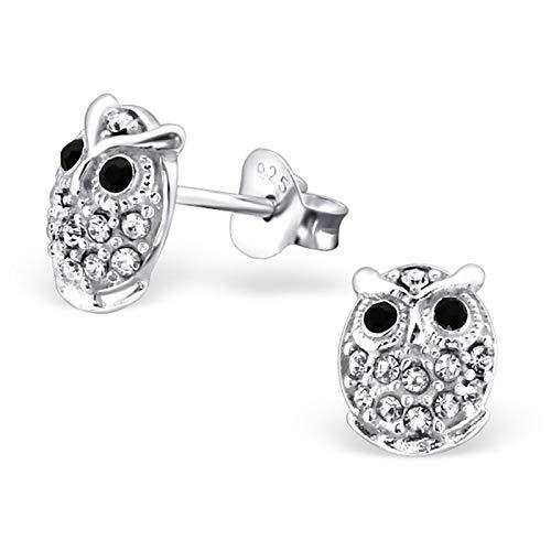 Monkimau Mädchen Ohrringe Eule Ohrstecker aus 925 Sterling Silver echt Silber mit 24 Kristallen