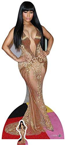 Celebrity Standee In Lebensgröße Nicki Minaj (Gold Kleid) Life Größe Pappe mit Tisch Top Mini Schnitt Out, Multi Farbe