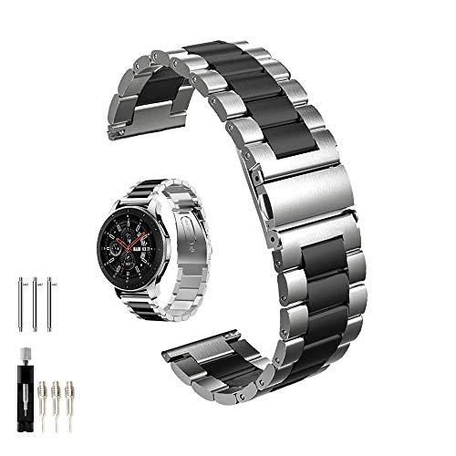 Galaxy Watch 46 mm / Gear S3 Frontier / Bracelet de montre classique, Sangle à Fixation Rapide 22 mm en Acier Inoxydable Massif pour Montre de Galaxie Samsung Gear S3 (métal noir+argent)