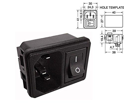 Enchufe tripolar de Panel con Interruptor – VDE IEC C14 – Conector Macho