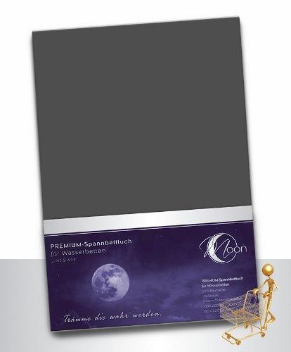 Moon Wasserbett Spannbettlaken XXL Line Silver Übergröße 200x220-220x240 190g/m² Spannbetttuch -anthrazit