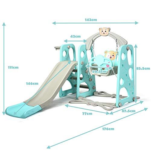 DREAMADE 3 in 1 Kinder Spielplatz, Kinderschaukel & Kinderrutsche Set mit Basketballkorb, Spielturm mit Rutsche und Schaukel für Indoor und Outdoor, Für Kinder 1 bis 5 Jahren (Grün) - 3
