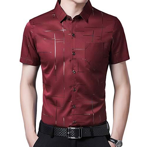 SHENSHI Camisetas Hombre,Tops De Vestir De Negocios con Bolsillo Entallado, Rojo Vino, 3X, Grande